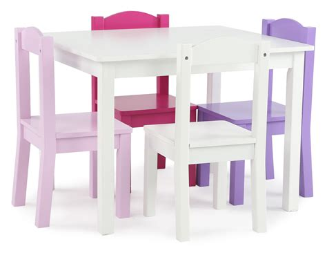 Tot Tutors Table And Chairs by Tot Tutors Wood Table And 4 Chairs Set White Pink
