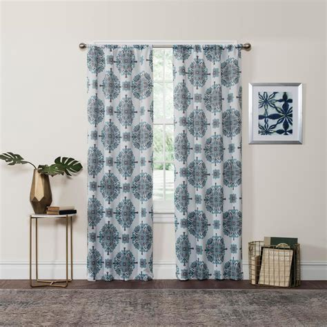 eclispe curtains eclipse blackout olivia 95 in l aqua rod pocket curtain