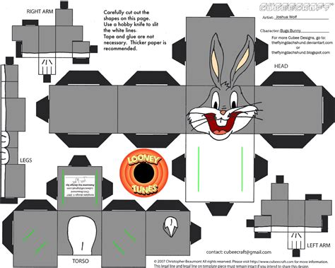 Papercraft Shows - lt1 bugs bunny cubee by theflyingdachshund on deviantart