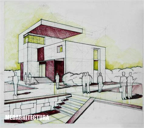 rendering architectural drawings modernist house pencil colored crayons arch student