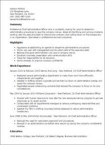 Admin Officer Sle Resume by Professional Chief Administrative Officer Templates To Showcase Your Talent Myperfectresume