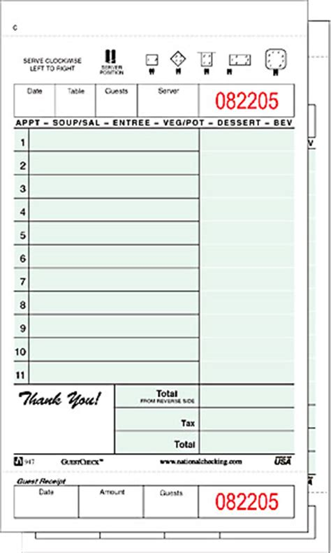 printable check template restaurant guest check books