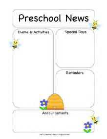 preschool newsletter template the crafty preschool bee newsletter template