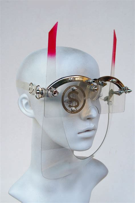 Handmade Masks - handmade mask with horns futuristic steunk styling