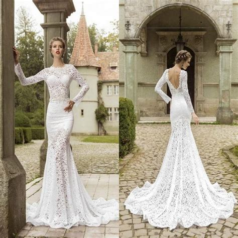 fashion sweep train mermaid wedding dresses fitted