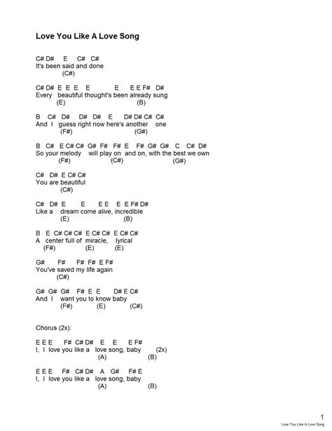 piano notes love you like a love song piano notes