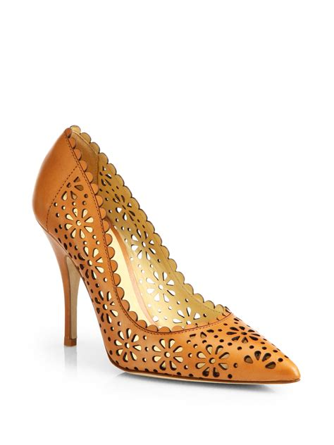 Hollywould Albane Laser Cut Pumps by Lyst Kate Spade New York Laser Cut Leather Pumps In