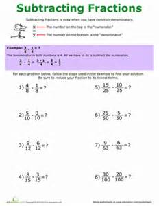 how to subtract fractions worksheet education com