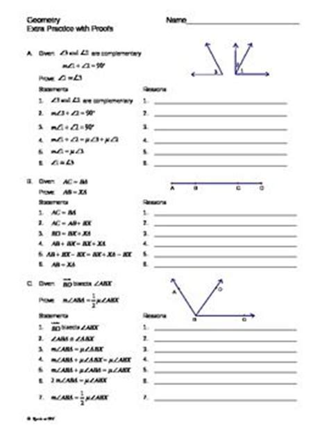 Simple Geometry Proofs Worksheets equations with variables on both sides cut and paste