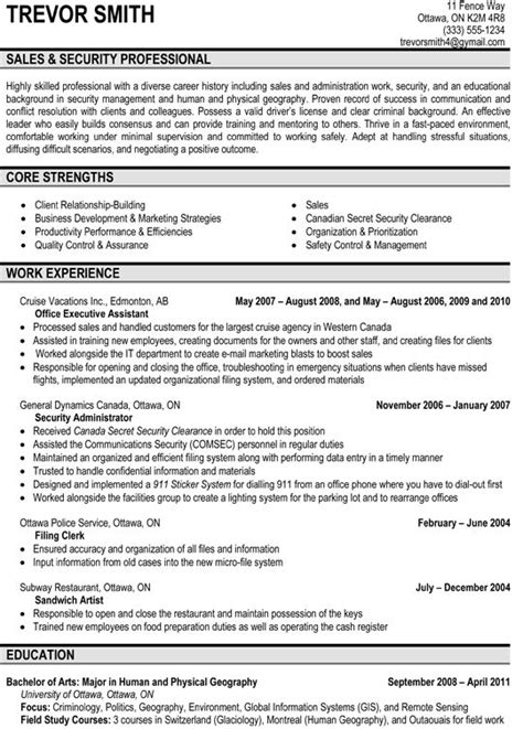 Resume Sles For Security 16 Best Images About Resume Sles On Manager Economics And Marketing Resume
