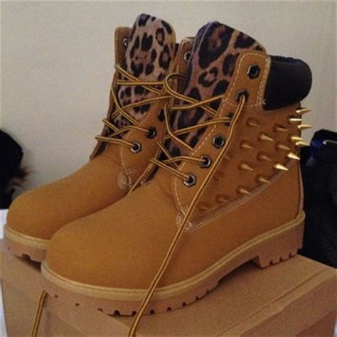 leopard print spiked timberland boots from timberlands on etsy