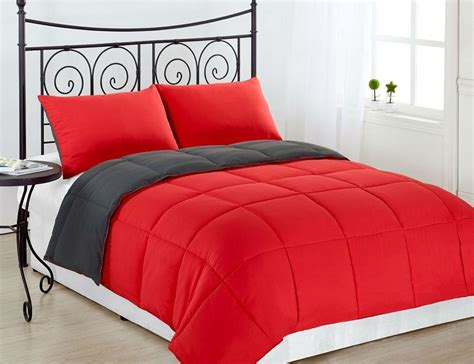 grey full size comforter red grey 3pc reversible down alternative comforter set