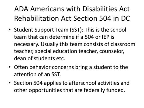 rehabilitation act section 504 art and special education