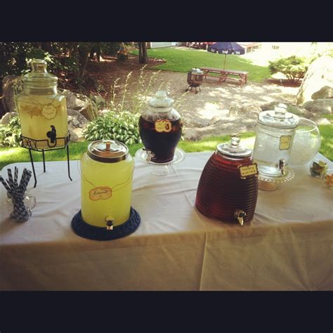 drink table for a backyard wedding shower served all