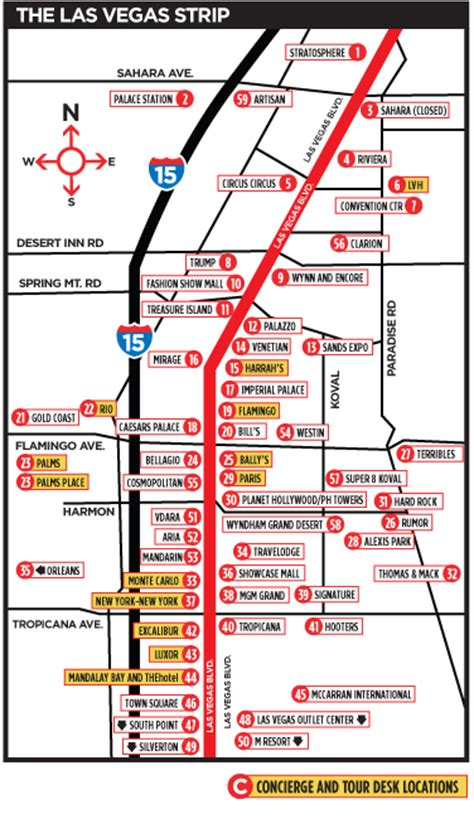 Vegas Strip Hotels Map   Quainv Blog
