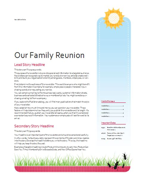 free family reunion letter templates family reunion newsletter template newsletter templates