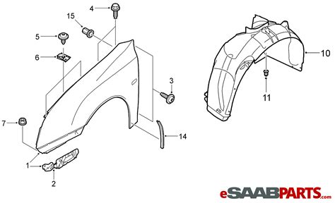 diagram how to install front fender of 2009 bentley azure 12797541 saab front fender rh 03 07 genuine saab parts