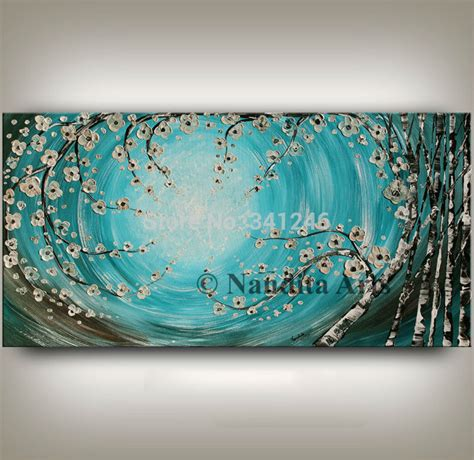 painting decor 100 hand painted modern home decor wall art picture turquoise flower brich tree thick paint