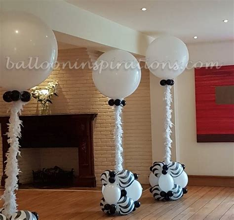 Black and white themed prom balloon decorations