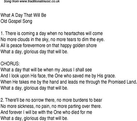 day songs what a day that will be christian gospel song lyrics and