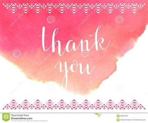 Thank You Letter Background thank you card template vector watercolor background stock
