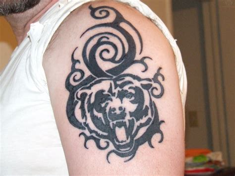 bear paw tribal tattoo black ink chicago bears on left shoulder pretty