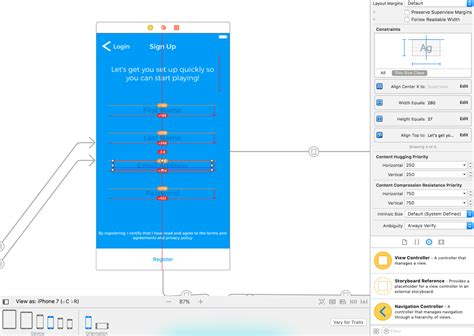 xcode text field layout ios how to center textfield using xcode constraints