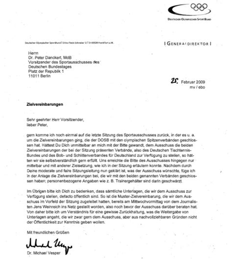 Offizieller Brief Der Neue Sportausschuss Sport Politics
