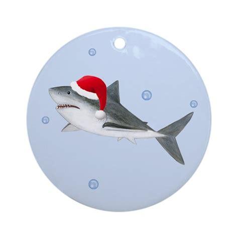baby shark christmas christmas santa shark ornament round by totsofun
