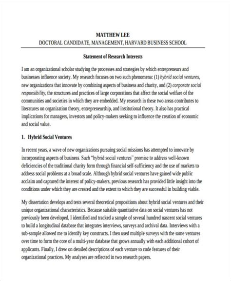 17 Research Statement Exles Pdf Doc Research Statement Template