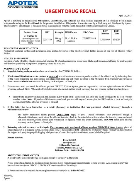 Sle Letter For Product Recall Health Canada And Apotex Urgent Recall Drugs
