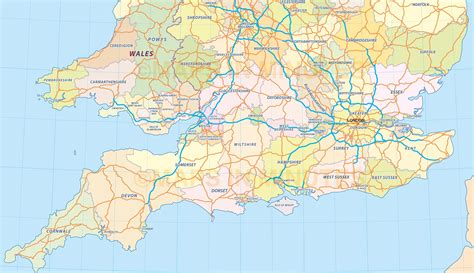 printable road map of southern england digital uk simple county administrative map 5 000 000