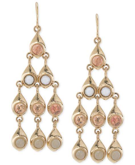 gold tone chandelier earrings carolee gold tone pastel chandelier earrings lyst