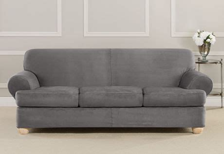 Black T Cushion Sofa Slipcover by Photo Of Ultimate Heavyweight Stretch Suede Individual 3
