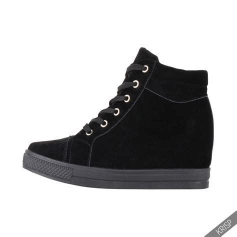 Sneaker Boots Stud womens studded concealed wedge trainers sneakers high tops ankle boots shoes ebay