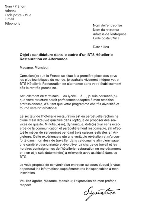 Lettre De Motivation Stage Hotellerie Anglais Lettre De Motivation Bts H 244 Tellerie Restauration Alternance Mod 232 Le De Lettre