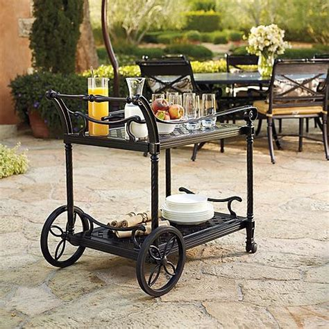 carlisle serving cart in white finish frontgate patio
