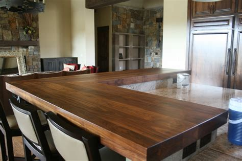 walnut bar tops transitional kitchen by wr
