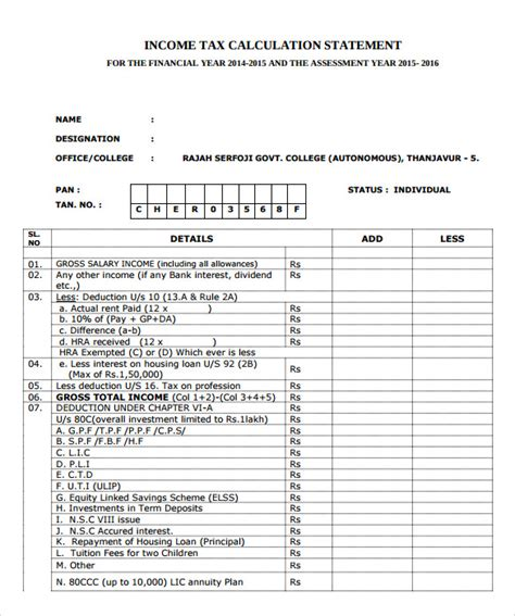 income tax template sle income tax calculator 9 documents in pdf