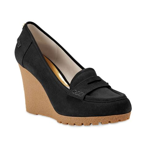 michael kors wedge sneakers black michael kors michael rory loafer wedge pumps in black