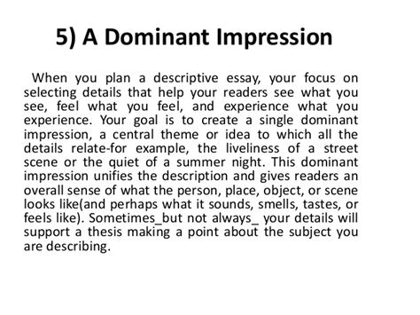 Dominant Impression Essay by Language 1123 Essentials 2k17