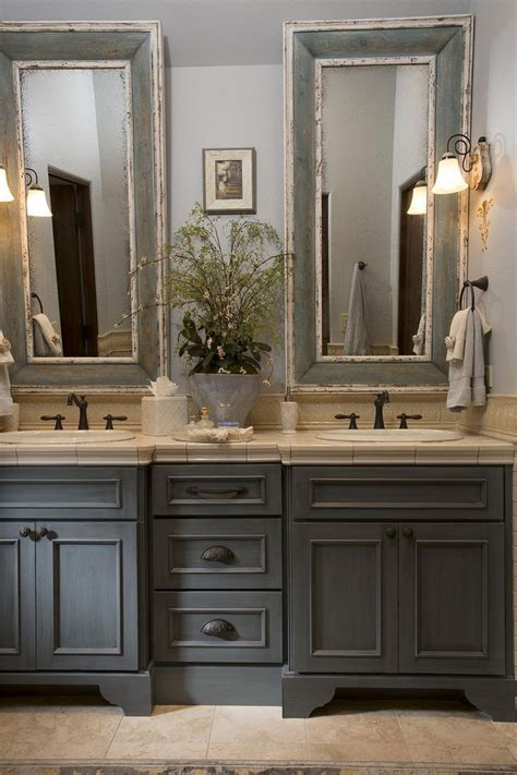 french country bathroom gray washed cabinets mirrors