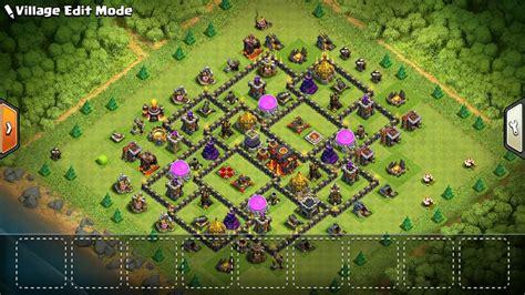 fungsi layout coc base farming th 9 terkuat dan dark elixir aman plus anti