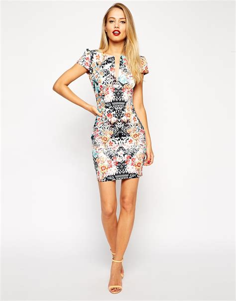 Dress In lyst asos mini pencil dress in mirror floral print