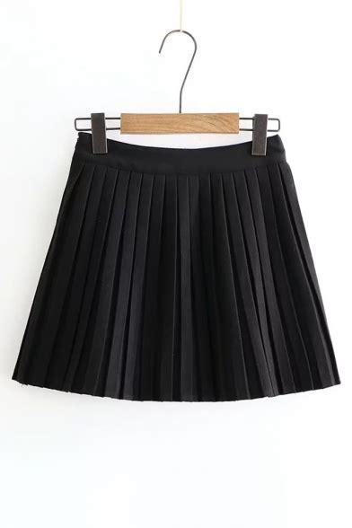 Pleated Plain Mini Skirt fashion simple plain high waist pleated mini skirt
