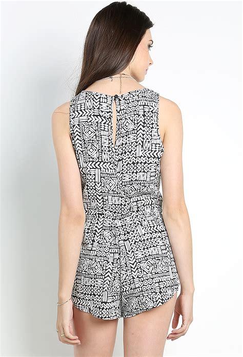 geo pattern jumpsuit geo pattern romper shop jumpsuit romper at papaya clothing