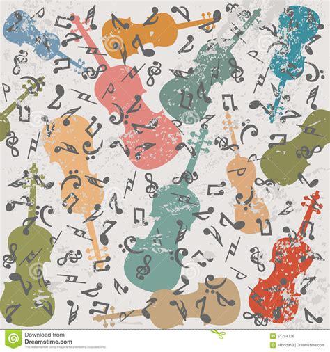 imagenes musicales retro fondo del vintage del grunge con los violines y las notas