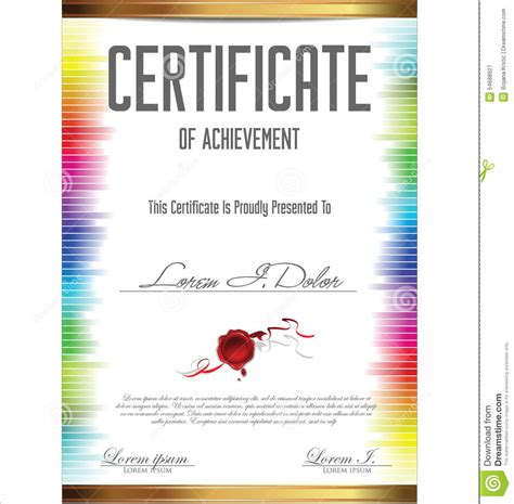 colorful certificate template stock illustration image