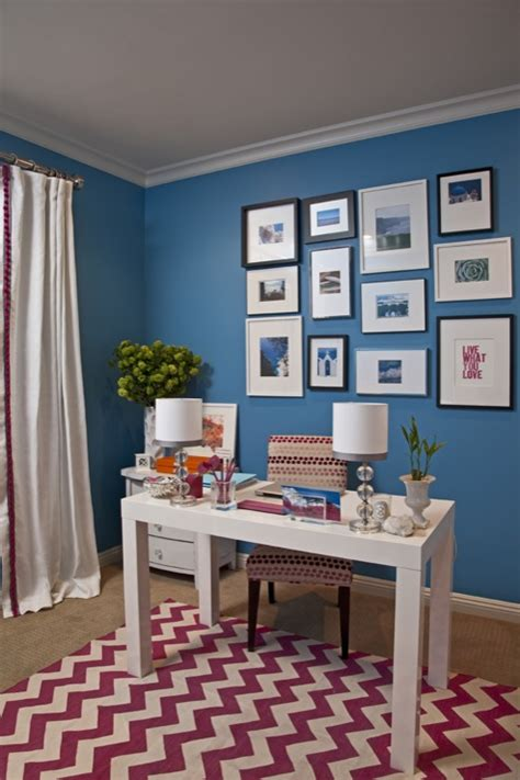 Benjamin Moore Electric Blue | blue walls contemporary den library office benjamin