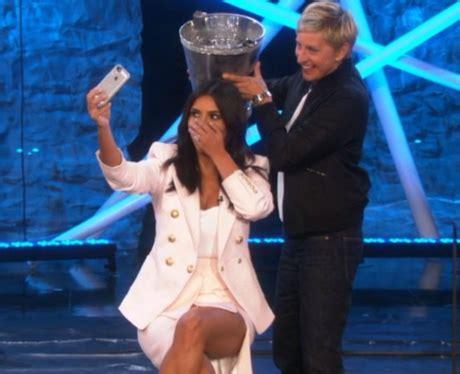 ellen degeneres kim kardashian ice bucket challenge kim kardashian takes the icebucketchallenge from ellen